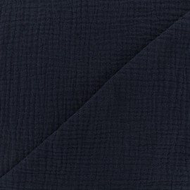 Plain Triple gauze fabric - Navy blue x 10cm