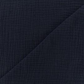 Tissu triple gaze de coton uni - bleu marine x 10cm