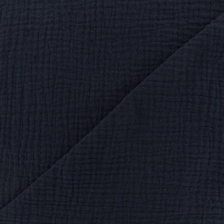 Plain Triple gauze fabric - Navy blue x 10cm