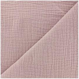 Tissu triple gaze de coton uni - eau de rose x 10cm