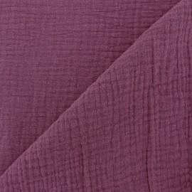 Tissu triple gaze de coton uni - Figue x 10cm