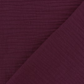 Plain Triple gauze fabric - Morello cherry x 10cm