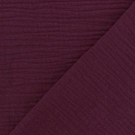 Tissu triple gaze de coton uni - Griotte x 10cm