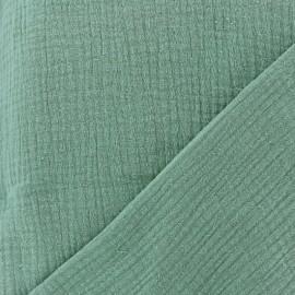 Tissu triple gaze de coton uni - Vert tilleul x 10cm
