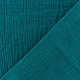 Tissu triple gaze de coton uni - Vert paon x 10cm