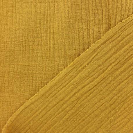 Tissu triple gaze de coton uni - miel x 10cm