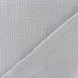 Plain Triple gauze fabric - Pearl grey x 10cm