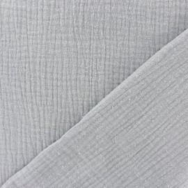 Tissu triple gaze de coton uni - gris perle x 10cm