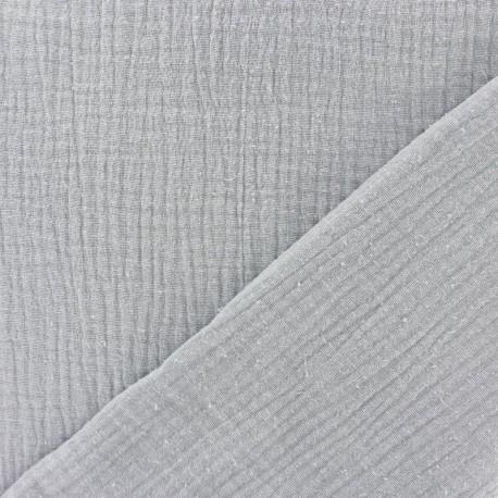 Plain Triple gauze fabric - Pearl grey x 10cm