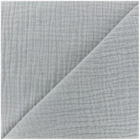 Tissu triple gaze de coton uni - gris x 10cm