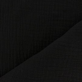 Plain Triple gauze fabric - black x 10cm