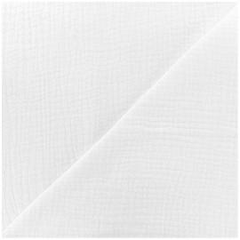 Tissu triple gaze de coton uni MPM - blanc x 10cm