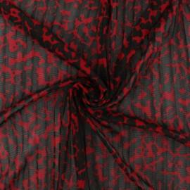 Tissu résille plissé Rapsodie - rouge x 10 cm