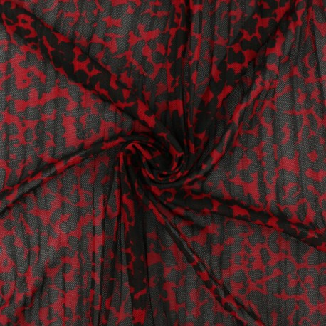 pleated mesh fabric – red Rapsodie x 10cm