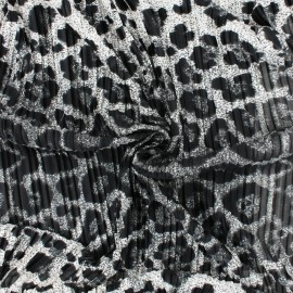 Pleated polyester satin fabric - Grey Wild Panther x 10cm