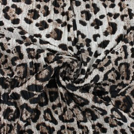 Pleated polyester satin fabric - Fauve Wild Panther x 10cm
