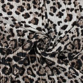 Tissu polyester plissé Panthère - fauve x 10cm