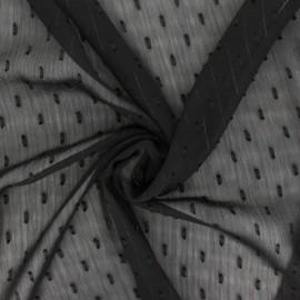 ♥ Coupon 200 cm X 150 cm ♥ Lurex plumetis Muslin fabric - black