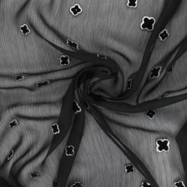 Velvet flocked Muslin fabric - Silver Shamrock x 50cm