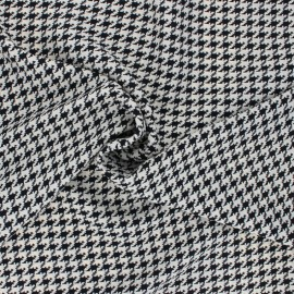 Houndstooth Polyester fabric - black/raw x 10cm