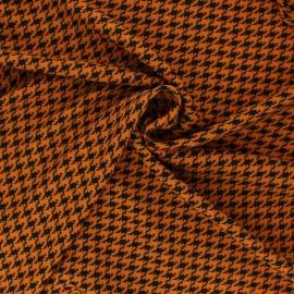 Tissu polyester pied de coq - camel x 10cm