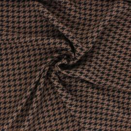Tissu polyester pied de coq - taupe x 10cm