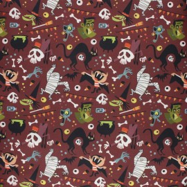 Cretonne Cotton fabric - Grey Trick or Treat x 10cm
