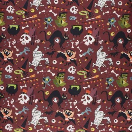 Cretonne Cotton fabric - Grey Trick or Treat x 10cm