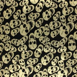 Short velvet fabric - Black Golden Skull x10cm