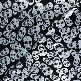 Tissu velours ras Crâne argent - noir x10cm