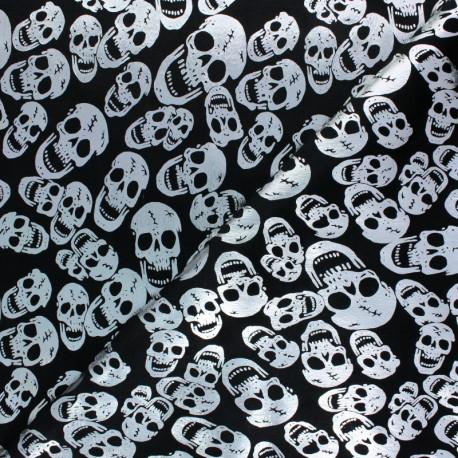 Short velvet fabric - Black Golden Skull x10cm