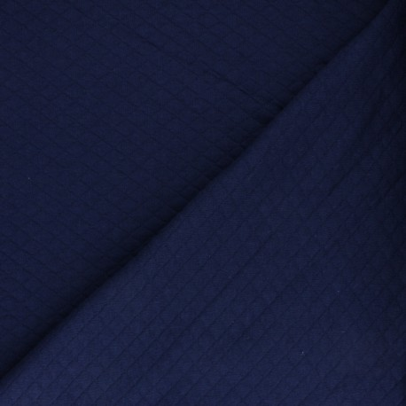 Quilted jersey fabric Diamonds 10/20 - navy blue x 10cm