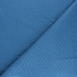 Tissu jersey matelassé losanges 10/20 - bleu houle x 10cm