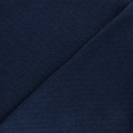 Tissu jersey matelassé losanges 10/20 - bleu marine chiné x 10cm