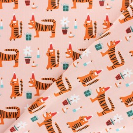 Tissu coton Dashwood Christmas Party - Tigre x 10cm