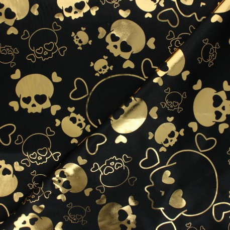 Print polyester satin fabric - black Gold Skull x 50cm