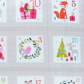 Dashwood studio cotton fabric - Beige Advent calendar x 60cm