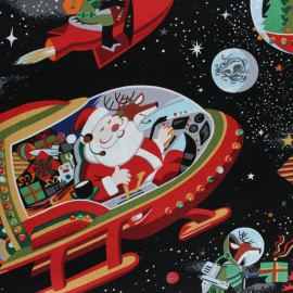 Tissu Alexander Henry Christmas time - Santa in space noir x 60cm