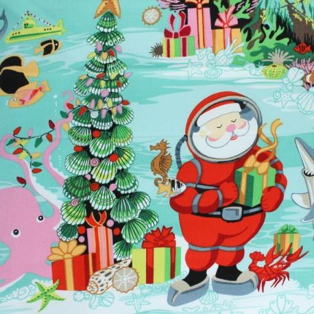 Tissu Alexander Henry Christmas time - Diving Santa x 60cm