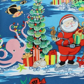 Tissu Alexander Henry Christmas time - Diving Santa Aqua x 60cm