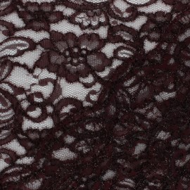 Lace Fabric - Purple red Glitter x 10cm