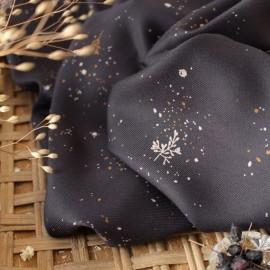 Viscose fabric Atelier brunette -  Twig Ochre x 10cm