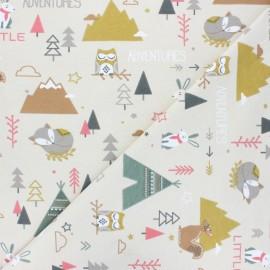 Tissu coton cretonne Tamias - ecru x 10cm