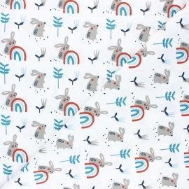 Tissu coton cretonne Ladino - bleu x 10cm
