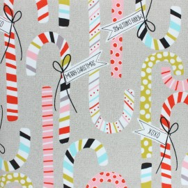 Alexander Henry fabric Christmas time - beige Candy Canes x 10cm