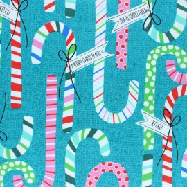 Alexander Henry fabric Christmas time - turquoise Candy Canes x 10cm