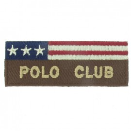 American flag Polo club iron-on applique - brown