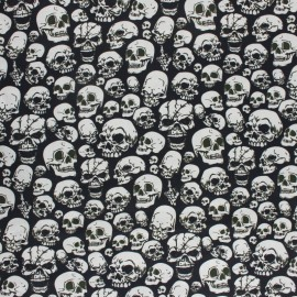 Cretonne Cotton fabric - Black Skull Fear x 10cm
