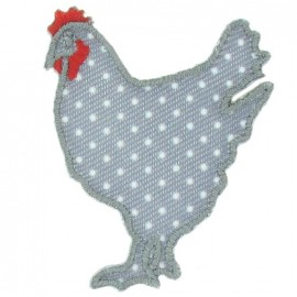 Hen with white polka dots iron-on applique - red/grey/white
