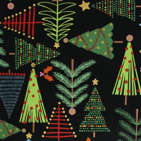 Christmas Time.Alexander Henry Fabric Christmas Time Black Holiday Pines Mpm